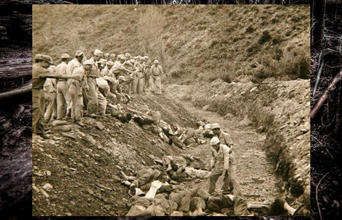 사진: 한국전쟁에 참전한 한 미군이 찍은 사진. 보도연맹 학살사건의 장면이다. 여양리 뼈무덤에서 160구가 발견되었고 전국적으로는 20만 명 이상이 살해당했다. [여양리 학살사건 뼈무덤의 사연]